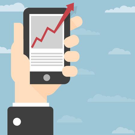 toque: M�o segurando telefone inteligente com crescimento sucesso Sucesso gr�fico de crescimento na tela de toque do telefone inteligente Businesshand segurar telefone inteligente com crescimento gr�fico acima Tudo em uma �nica camada