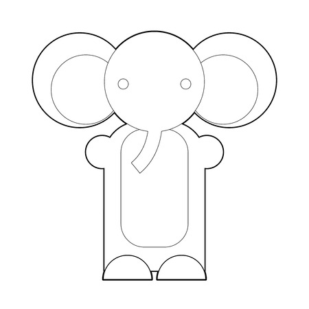 Cute cartoon elephant  Cartoon elephant isolated on white background  Cartoon vector outline illustration of elephant  Coloring book  Vector