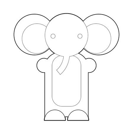 jump for joy: Cute cartoon elephant  Cartoon elephant isolated on white background  Cartoon vector outline illustration of elephant  Coloring book