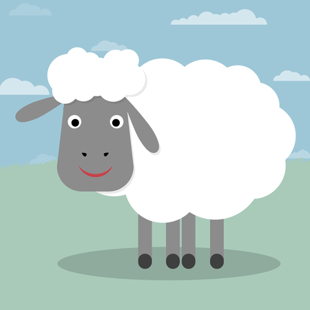 looking away: Sheep on a Green background vector illustration  Nice cartoon vector sheep  Illustration of cute sheep  All in a single layer