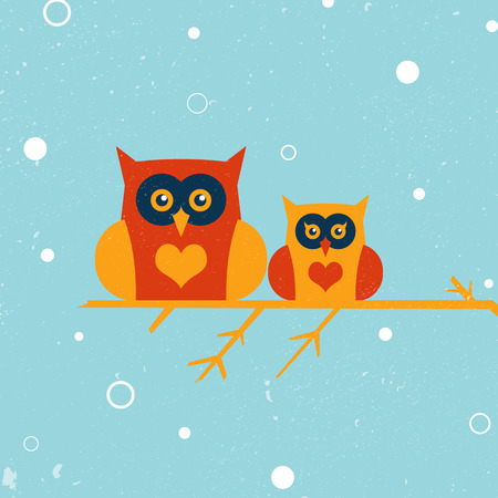 Two owls on the tree  Winter owls   illustration for design  All in a single layer  Snow landscape background  Vector