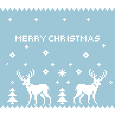 Deer Pixel Art  Pixel silhouettes of deers  Christmas card with pixel reindeer  Beautiful blue winter ornament with deer and snowflakes  Vector