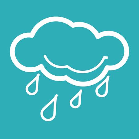 drench: Lluvia Tiempo Icon Iconos del tiempo con el fondo azul Ilustración vectorial de icono fresco clima sola - raincloud con gotas de lluvia en fondo azul Todo en un solo PS 10 ilustración vectorial capa de diseño