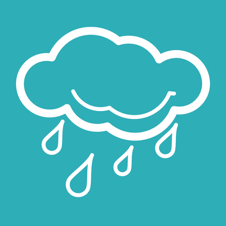 raincloud: Rain Weather Icon  Weather Icons with Blue Background  Vector illustration of cool single weather icon - raincloud with raindrops in Blue Background  All in a single layer  PS 10 vector illustration for design