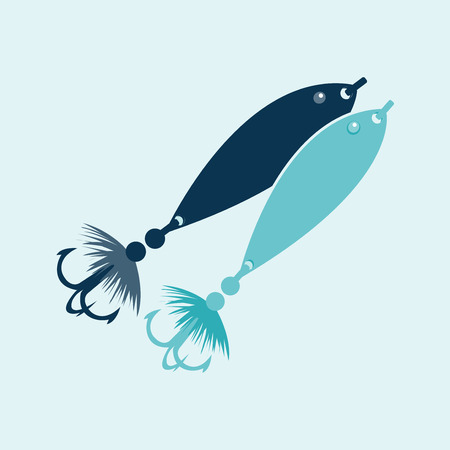 Fishing Icon  Fishing icons in blue color  Elements for design  Vector illustration  Vector