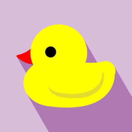 Duck pictogrammen Geel eend Vector Elementen voor ontwerp Badeend pictogram op paarse achtergrond Flat design stijl
