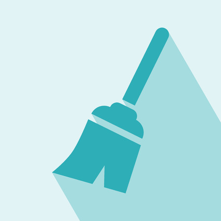 incrustation: Broom Icon   Vector illustration   Elements for design   Broom Icon on light blue background
