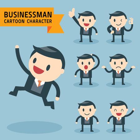 Set van zakenman tekens vormt, uiten gevoel en emotionele concept, kantoormedewerker Stock Illustratie