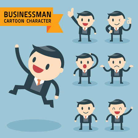 Set of businessman characters poses, expressing feeling and emotional concept, office worker