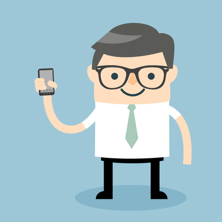 cellphone in hand: Vector illustration of a cartoon businessman holding his smartphone.