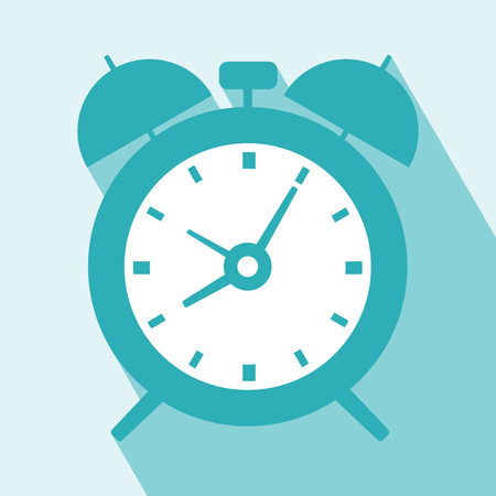clock icon: Alarm Clock Icon. Alarm Clock Icon vector isolated on light blue background. Alarm Clock Icon with Long Shadow. All in a single layer. Vector illustration. Elements for design.