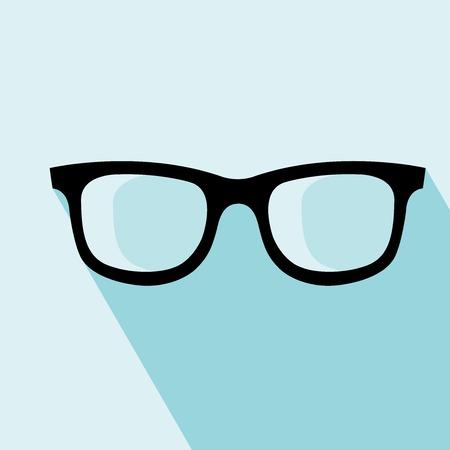 眼鏡のアイコン。ベクトルの図。デザインの要素。青の背景に眼鏡のアイコン。