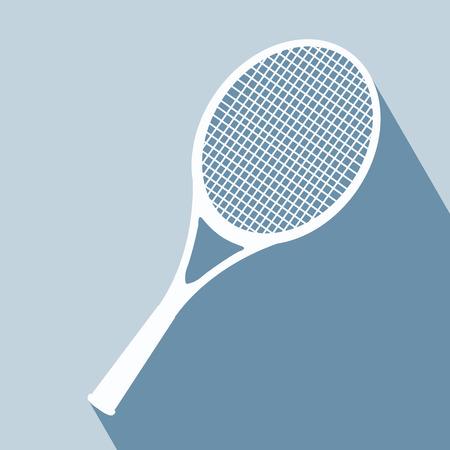 tennis racket: Icono Racket. Ilustración del vector. Elementos para el diseño. Icono raqueta sobre fondo azul. Equipo de tenis.