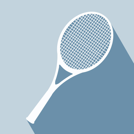 racket: Racket Icon. Vector illustration. Elements for design. Racket Icon on blue background. Tennis equipment.