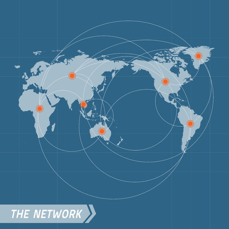 world trade: Network Vector Concept. World Map on dark blue background.  Vector illustration. Vector world map connection. Elements for design.