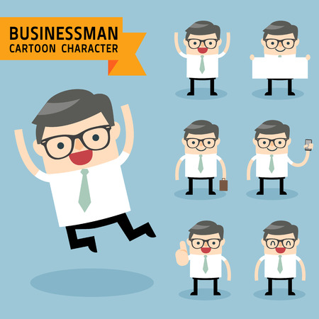 Set of businessman characters poses expressing feeling and emotional concept office worker. Ilustracja