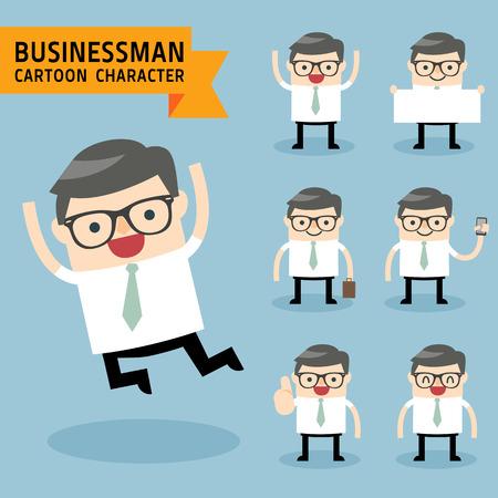 Set van zakenman tekens houdingen uiten gevoel en emotionele begrip kantoormedewerker. Stock Illustratie