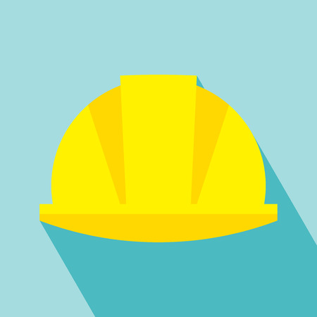 Construction Helmet Icon. Hard Hat Icon. Helmet Builder Icon. Construction Helmet Icon with long shadow. Vector. vector illustration for design. All in a single layer. Vector illustration. Vettoriali