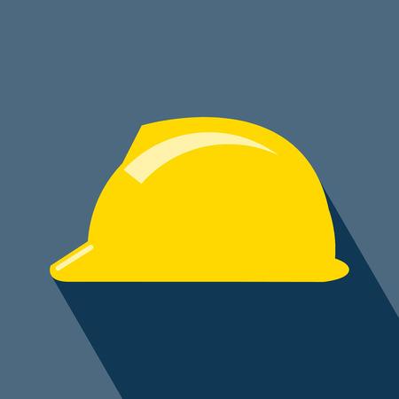 工事ヘルメット アイコン。ハード帽子アイコン。ヘルメット ・ ビルダー」アイコン。長い影と建設ヘルメット アイコン。ベクトル。 デザインのベ  イラスト・ベクター素材