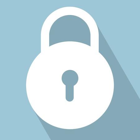 Lock Icon. Slot op lichtblauwe achtergrond. Vector illustratie. Alle in een enkele laag.