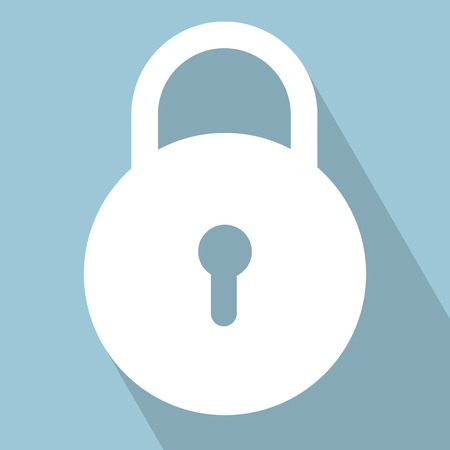 Lock Icon. Lock on light blue Background. Vector illustration. All in a single layer.