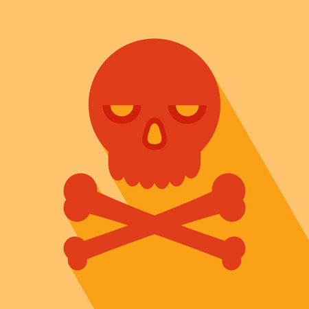 cranium: Halloween Icon. Cranium Icon. Skull Icon. Skull Icon vector isolated on orange background. Skull Icon with Long Shadow. All in a single layer. Vector illustration. Elements for design.