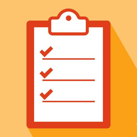 Clipboard Icon. Clipboard Icon vector geïsoleerd op een oranje achtergrond. Klembord icoon met Long Shadow. Alle in een enkele laag. Vector illustratie. Elementen voor het ontwerp. Flat icoon van klembord.