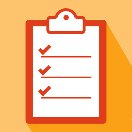 agenda: Clipboard Icon. Clipboard Icon vector isolated on orange background. Clipboard Icon with Long Shadow. All in a single layer. Vector illustration. Elements for design. Flat icon of clipboard.