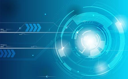 Achtergrond Technology. Blauwe tech achtergrond met glanzende abstracte objecten. Vector technologie cirkel en technologie achtergrond snelle communicatie concept. Stock Illustratie