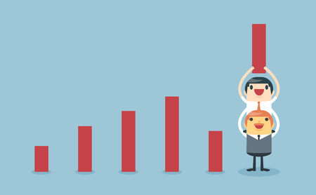 increases: With support from the boss and teamwork. Make excellent earnings. Businessman lifting increase graph. Businessman lift increase bar chart. Elements for design. Vector illustration, isolated on light blue background. Illustration