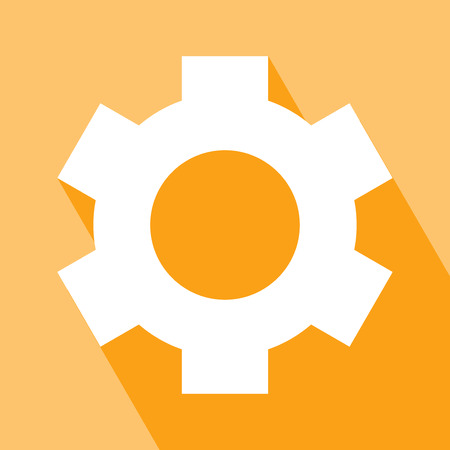 layer style: Gear or cog icon. Cog icon in flat style. Vector illustration. Elements for design. Cog icon on orange background. Cog Icon with Long Shadow. All in a single layer. Illustration
