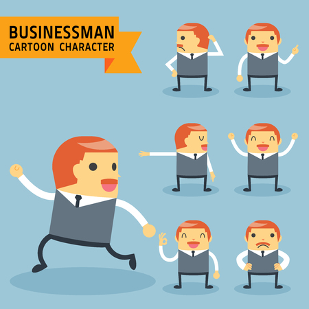 corporate people: Set of businessman characters poses, expressing feeling and emotional concept, office worker. Elements for design. Vector illustration, isolated on light blue background.