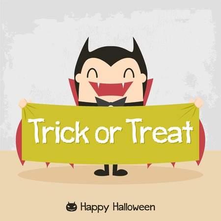 Cartoon vampire. Dracula Cartoon. Count Dracula. Halloween vampire character design with typographic treatment of word Trick or Treat. All in a single layer.