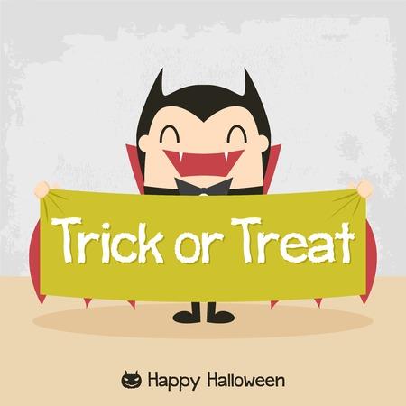 vampier cartoon. Dracula Cartoon. Graaf Dracula. Halloween vampier karakter ontwerp met typografische behandeling van woord Trick or Treat. Alle in een enkele laag. Stock Illustratie