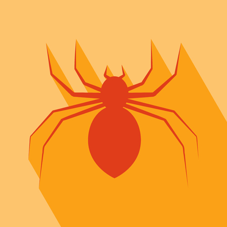 spider: Halloween Icon. Spider Icon. Spider Icon vector isolated on orange background. Spider Icon with Long Shadow. All in a single layer. Vector illustration. Elements for design.
