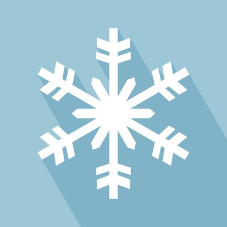 neige flocon: Flocon de neige. Snowflake Icon avec Long Shadow. Flocon de neige � Flat Style Design.