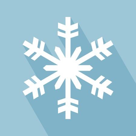 copo de nieve: Icono del copo de nieve. Icono del copo de nieve con una larga sombra. Icono del copo de nieve en el plano del estilo del dise�o.