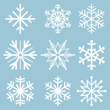 copo de nieve: iconos de copo de nieve. Los vectores copo de nieve. Los copos de nieve fijaron. Antecedentes para el tema de invierno y navidad. Ilustración del vector.