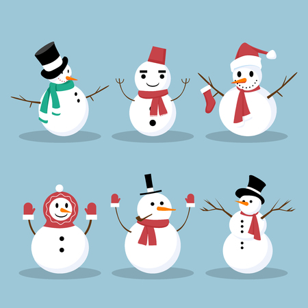 Snowman Collection. Snowman set isolated on Blue background. EPS 10 vector illustration for Christmas design. Snowman greeting. Funny snowmans. Cartoon vector set. Ilustracja