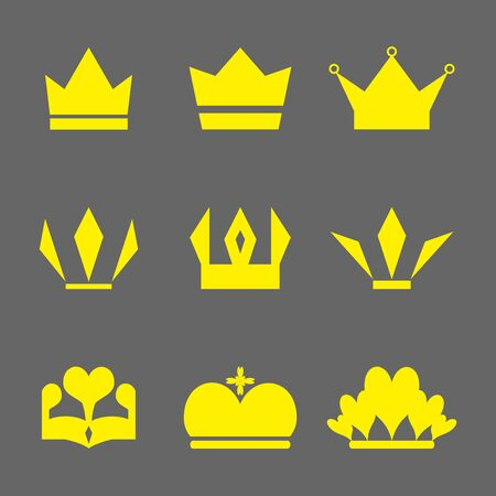 all in: Crown Icons Set. Set of Crowns Icons. Crown icons.  Flat crown icon. vector illustration for design. All in a single layer.