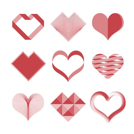 hot announcement: Vector hearts set. Set of symbols heart, isolated on white, vector. All in a single layer. Vector illustration. Elements for design.