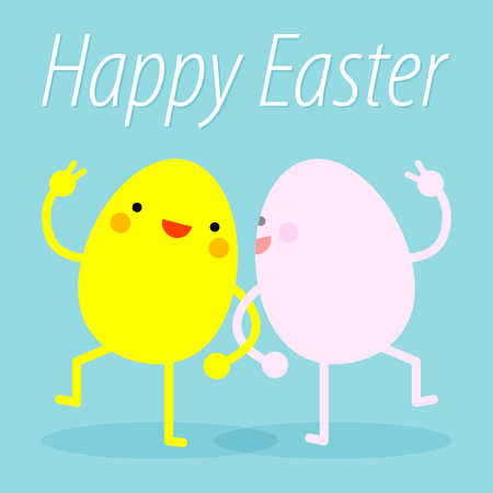 Happy Easter. Easter eggs funny. Easter eggs dance. Happy easter with happy dancing eggs. All in a single layer. EPS 10 vector illustration for design. Illustration