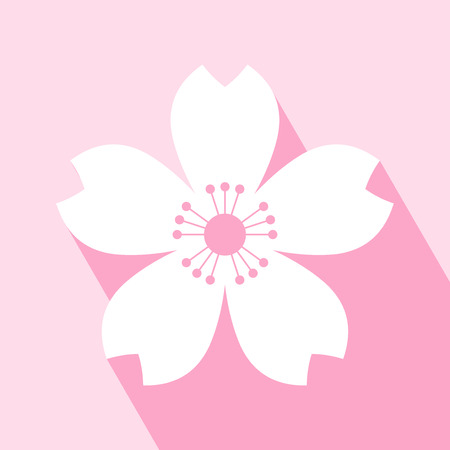 cherries: Cherry blossom icon. Sakura icon. All in a single layer. Vector illustration. Elements for design. EPS 10 vector illustration for design. Cherry blossom icon on pink background. Cherry blossom Icon Icon with Long Shadow.