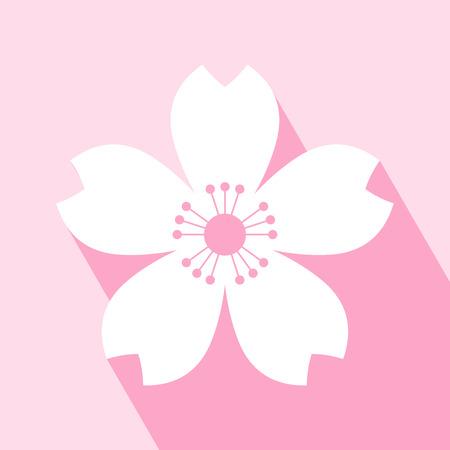 Cherry icona fiore. Sakura icona. Il tutto in un unico strato. Illustrazione vettoriale. Elementi per la progettazione. EPS 10 illustrazione vettoriale per la progettazione. Cherry icona fiore su sfondo rosa. Cherry blossom Icona con una lunga ombra. Vettoriali