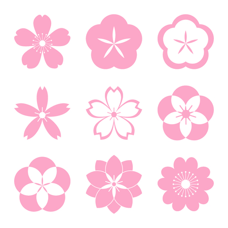 cherries: Cherry blossom icon set. Sakura icon set. All in a single layer. Vector illustration. Elements for design. EPS 10 vector illustration for design.