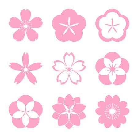 fleur cerisier: Cherry blossom icon set. Sakura icon set. Tout en une seule couche. Vector illustration. Elements for design. EPS illustration 10 vecteur pour la conception. Illustration