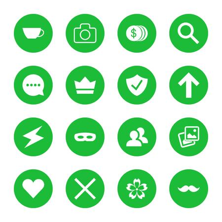 set of flat web icons. illustration of green icons in round frames. Ilustração