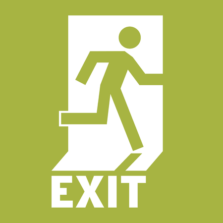 green exit emergency sign: Emergency Exit Icon. Safe condition sign,Emergency exit. Square emergency exit symbol. All in a single layer. Elements for design. Illustration