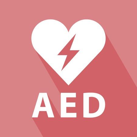 defibrillator: Defibrillator Icon on red background Illustration