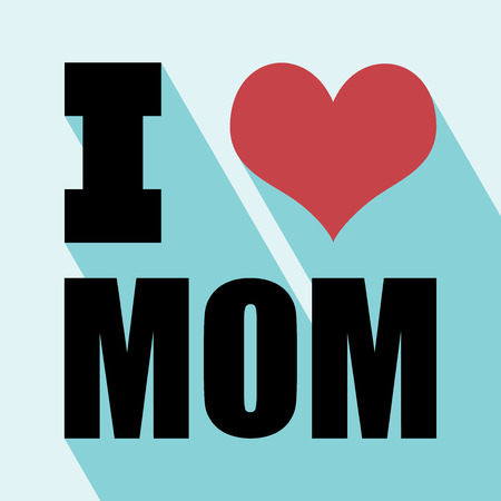 Happy mothers day card vintage retro type font. I love mom with Long Shadow. All in a single layer.